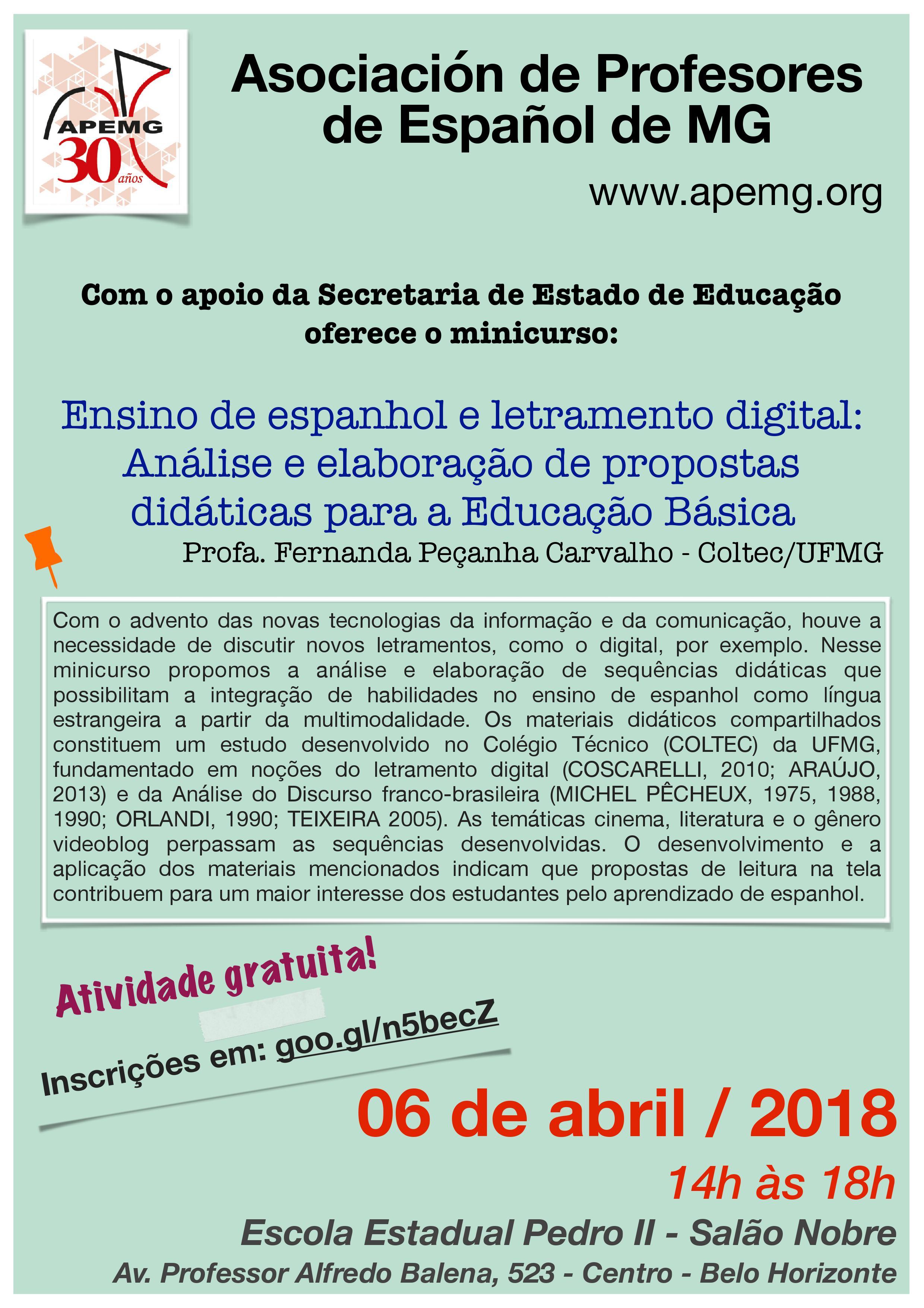Minicurso Ensino de espanhol e letramento digital